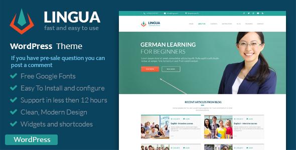 Schule oder Lehrer - Lingua WordPress Vorlage