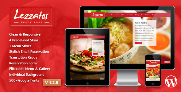 Lezzatos: Responsives Wordpress Layout des Restaurants
