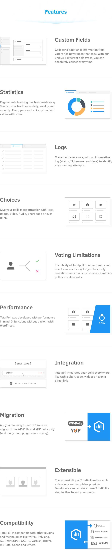 Benutzerdefinierte Felder, Statistiken, Protokolle, Auswahlmöglichkeiten, Wahlbeschränkungen, Leistung, Integration, Migration, Erweiterbarkeit und Kompatibilität im TotalPoll WordPress Umfrage-Plugin.