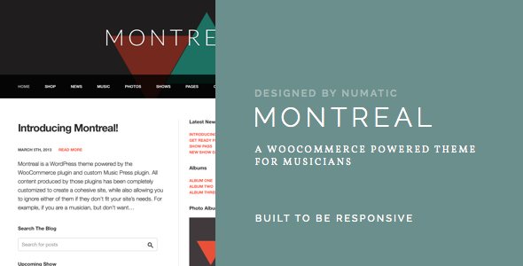 Montreal - WooCommerce Powered Musik Thema