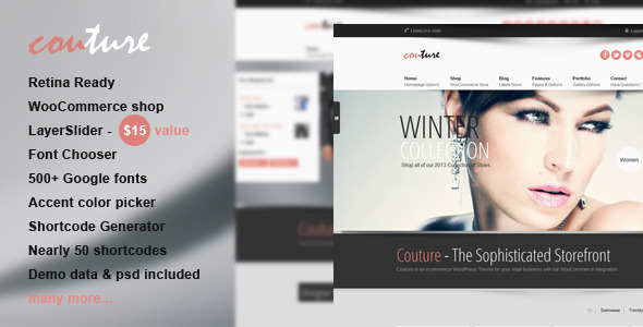 Couture WordPress WooCommerce Layout
