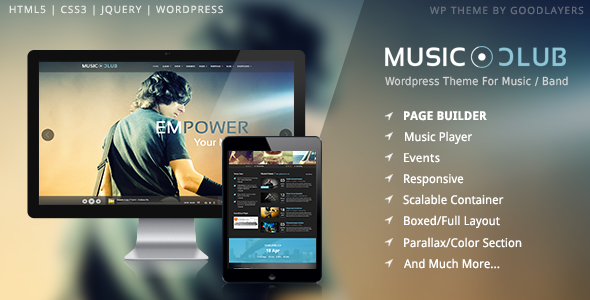 Musik Club - Musik / Band / Club / Party Wordpress Layout