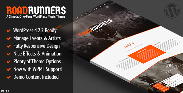 RoadRunners - Ein One-Page-Musik-WordPress-Template