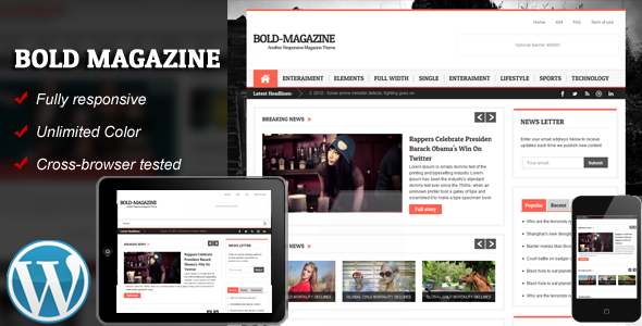 Responsives WordPress Template des mutigen Magazins