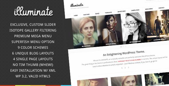 Illuminate - minimalistisches und kreatives WordPress Vorlage