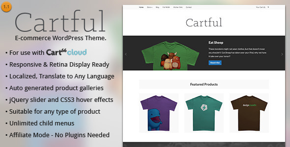 Cartful - Ecommerce WordPress Layout für Cart66