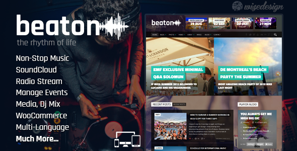 Beaton - Musik, Radio und Events WordPress Vorlage