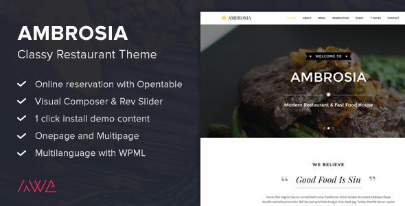 Ambrosia - Nobles Restaurant WordPress Vorlage