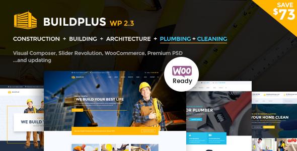 Aufbau WordPress Theme | Bau WP Build Plus (Bau, Reinigung, Sanitär)