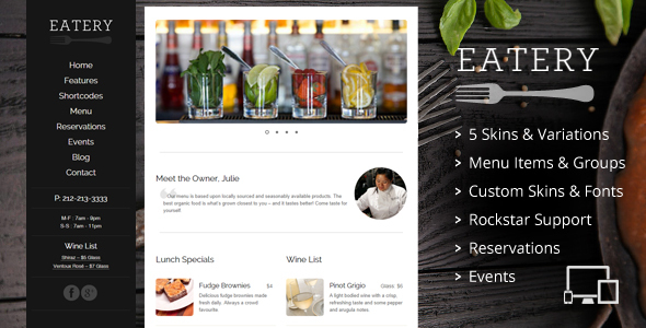 Restaurant - Responsive Restaurant WordPress Layout