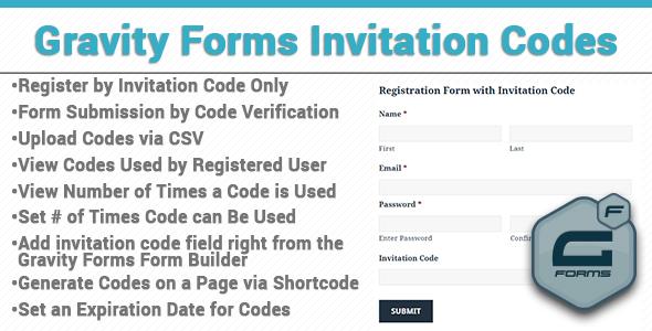 Gravity Forms Einladungscodes