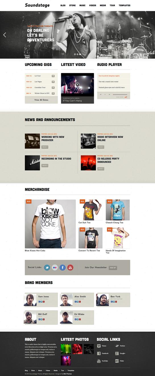 Soundstage - WordPress Vorlage für Bands / Musiker