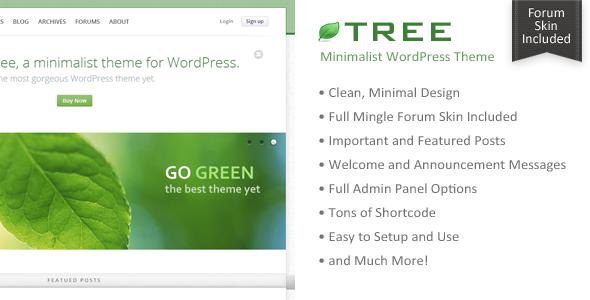 Baum - Minimal Blog WordPress Vorlage - Agentur zweigelb