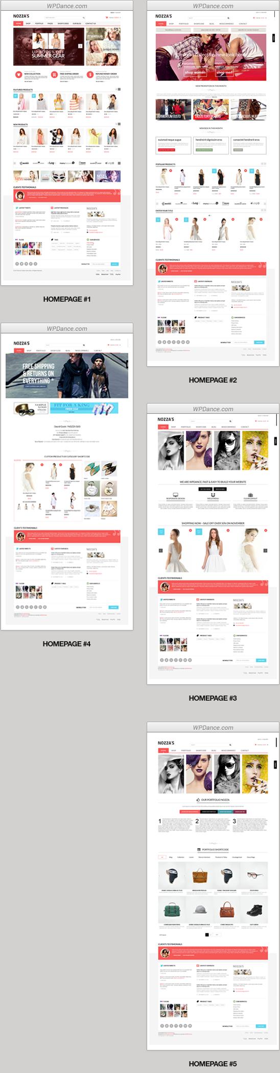 Vordefinierte Seitenlayouts (inklusive 5 Homepage