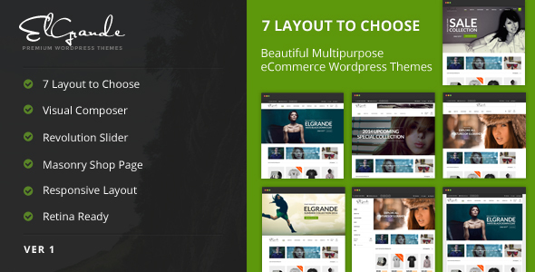 Elgrande - 7 schöne Layouts eCommerce Template