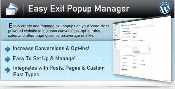 Einfacher Exit Popup Manager für WordPress