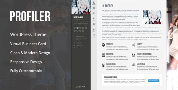 Profiler Vcard Lebenslauf Wordpress Template Agentur Zweigelb