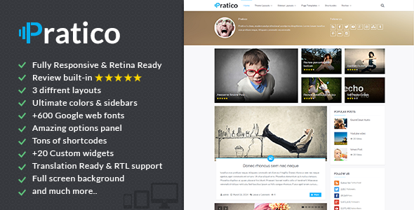 Pratico - Retina Responsives WordPress Blog Template