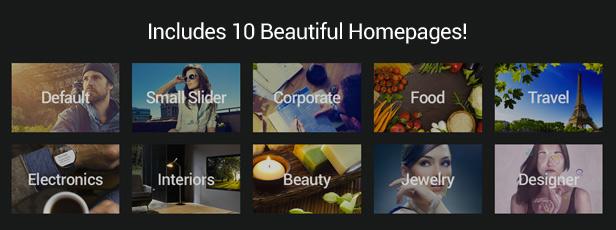 Enthält 10 schöne Homepages