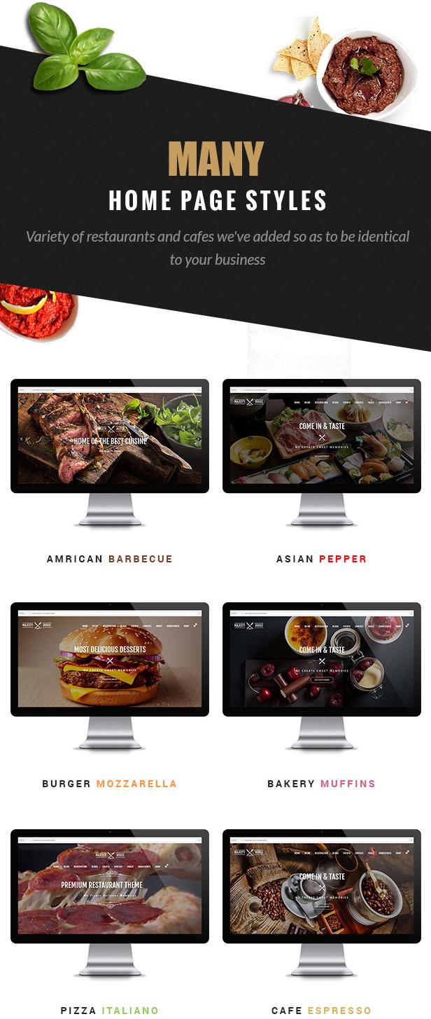 Majestät - Restaurant WooCommerce WordPress Layout