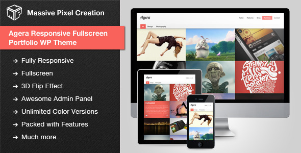 Agera Responsive Fullscreen Portfolio WP Thema