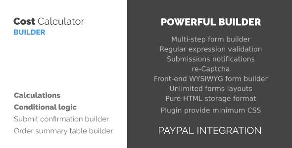 WordPress Kostenrechner und Payment Forms Builder