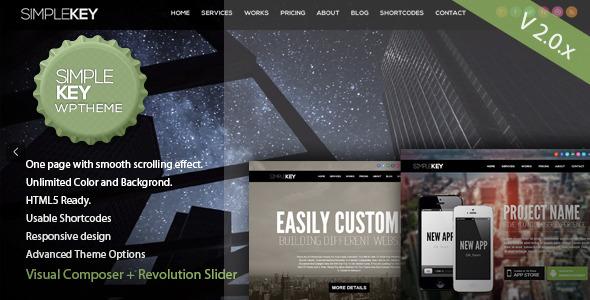 SimpleKey - Ein Seitenportfolio WordPress Vorlage