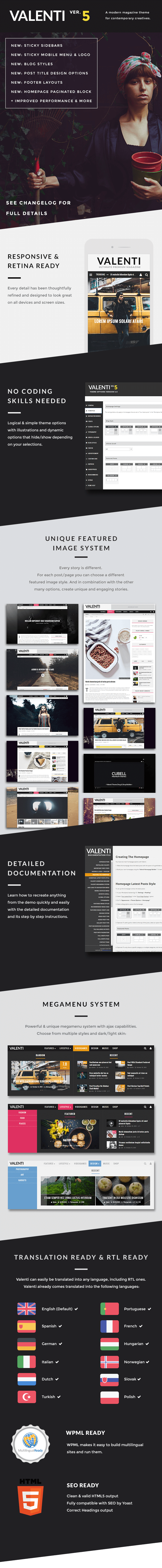 Valenti WordPress Magazin Thema für 2015 Funktionen