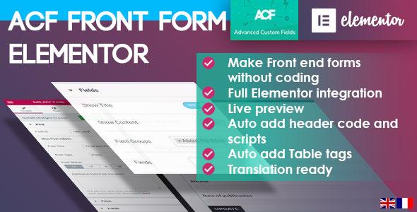 ACF-Frontformular für Elementor Page Builder