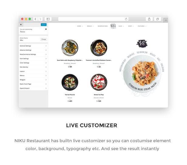 Niku - Restaurant & Essen Menüs WooCommerce Layout