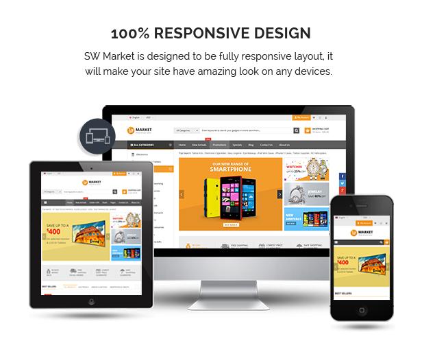 SW Market - Responsives WooCommerce WordPress Vorlage - Vollständig Responsive
