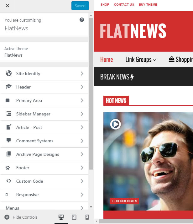 FlatNews - Responsive Magazin WordPress Vorlage - Live Preview Customizer