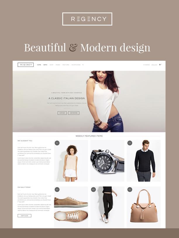 Regency: Ein schönes und modernes E-Commerce-Layout