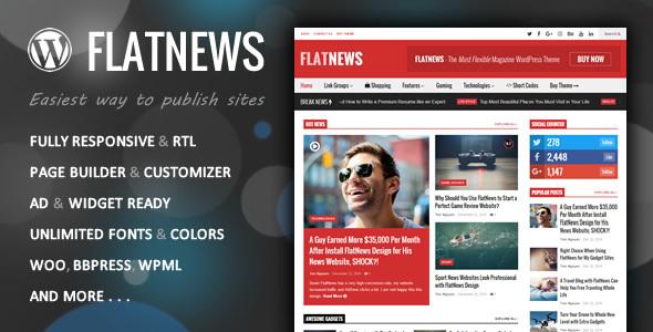 FlatNews - Responsives Magazin WordPress Vorlage