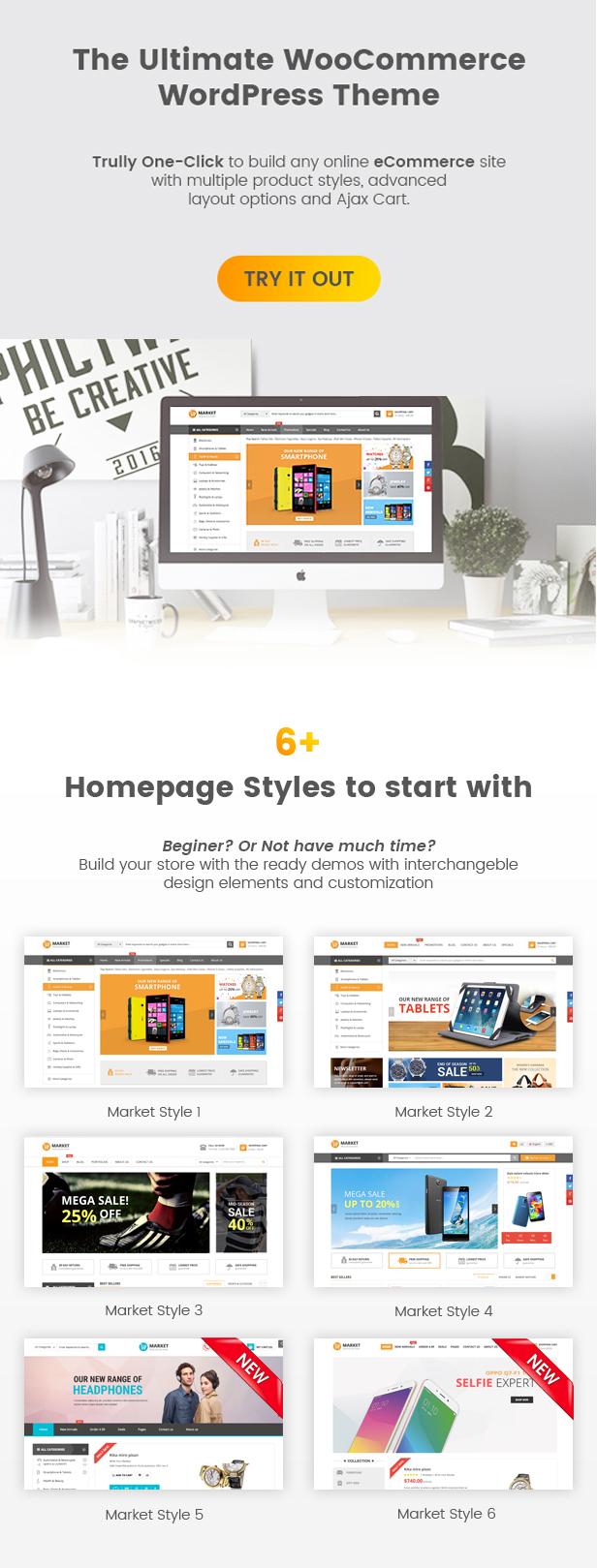 SW Market - Responsives WooCommerce WordPress Vorlage - Homepage