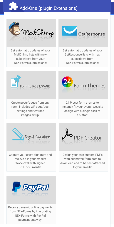 NEX-Forms - Der ultimative WordPress Form Builder - Add-ons