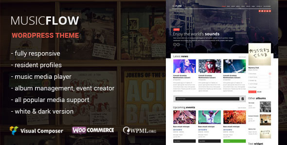 MUSICFLOW - Musik, Bands WordPress Thema