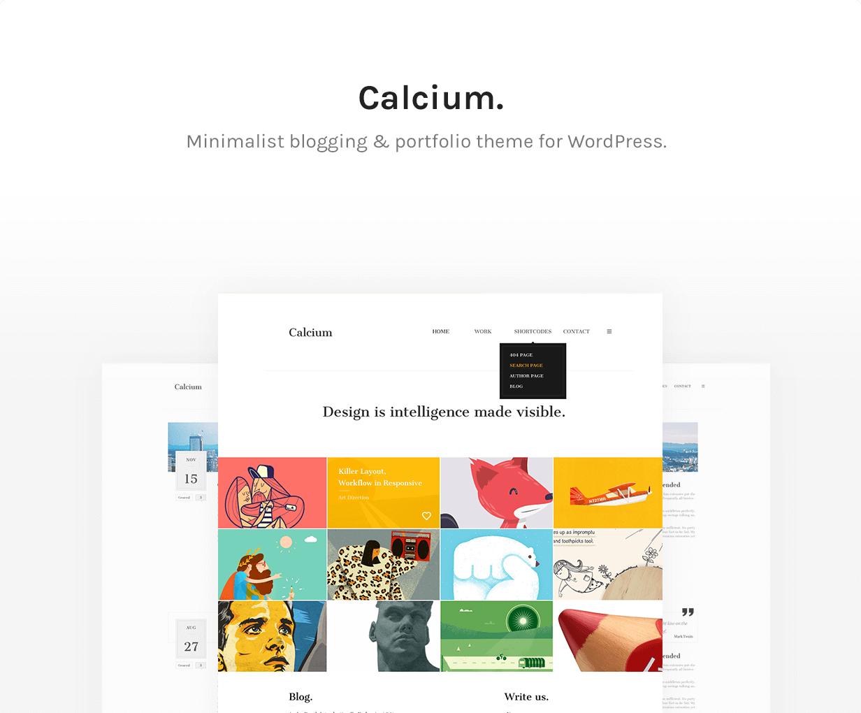 Kalzium - minimalistisches Portfolio & Blogging Layout