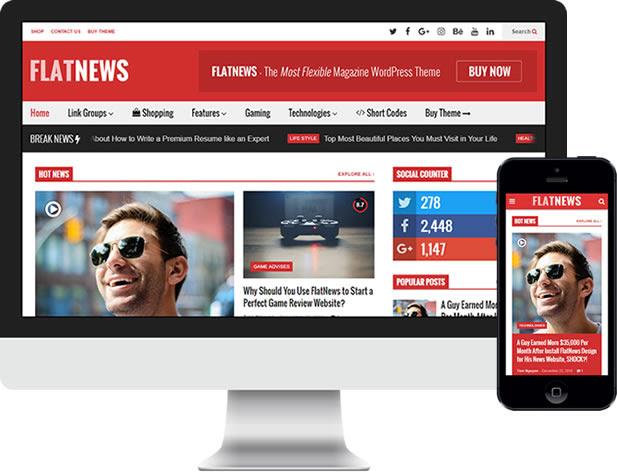 FlatNews - Responsive Magazine WordPress Vorlage - Responsive (Handyfreundlich) und Retina