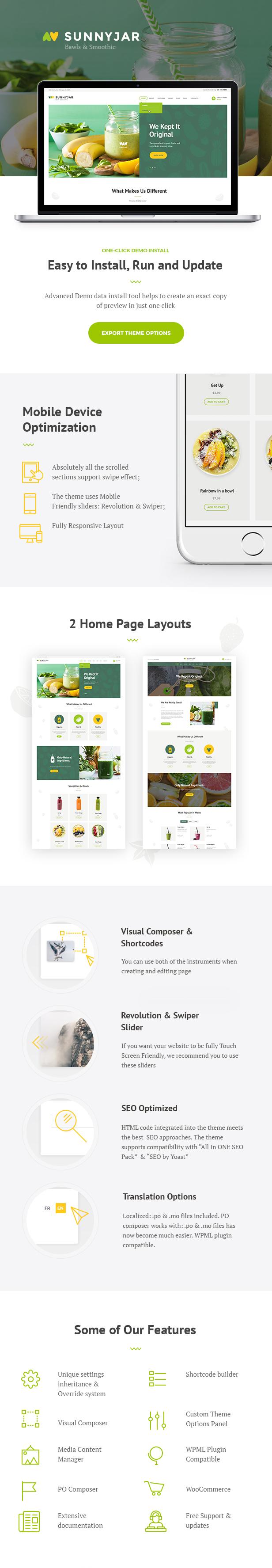SunnyJar - Smoothie Bar & Gesunde Getränke Shop WordPress Template