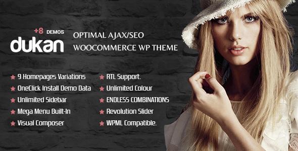 DUKAN - Optimales AJAX / SEO WooCommerce Mehrzweck WP Template