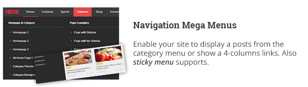 Navigation Mega Menüs