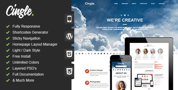 Wordpress Kreativ Template Cingle | Responsive One Page WordPress Theme