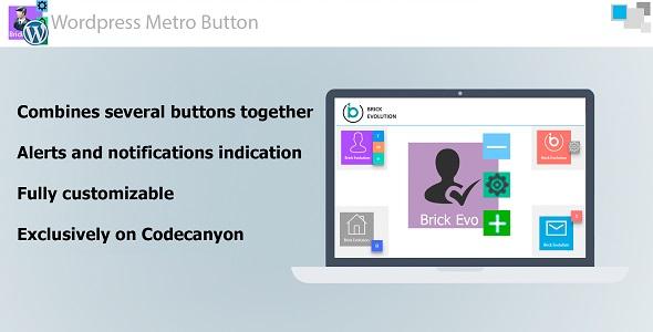 Metro Button WP mit interaktiver Benachrichtigung und Untertasten