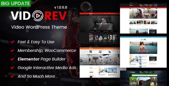 Wordpress Blog Template VidoRev - Video WordPress Theme