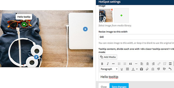 Wordpress Add-On Plugin WPBakery Page Builder Add-on Image Hotspot with Tooltip