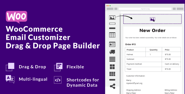 Wordpress E-Commerce Plugin WooCommerce Email Customizer with Drag and Drop Email Builder