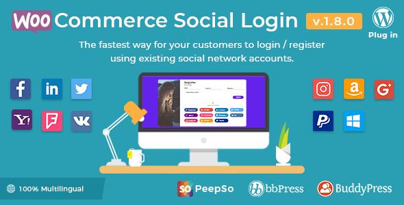 Wordpress E-Commerce Plugin WooCommerce Social Login - WordPress Plugin