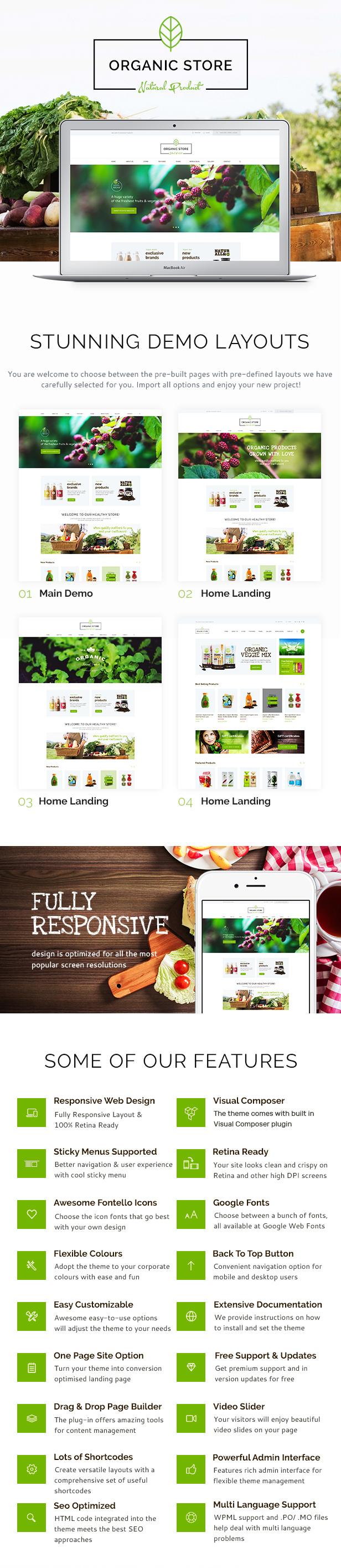 Organischer Speicher | Bio-Lebensmittel & Öko-Produkte WordPress Vorlage + RTL