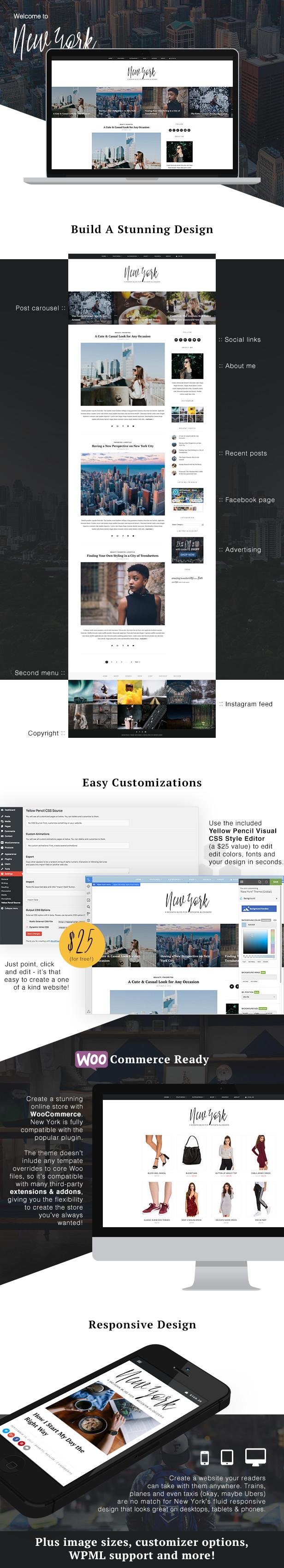New York WordPress Template Funktionen